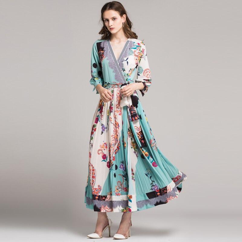 Printemps Floral Taille Brillait V Mince Sexy Youe Mode cou Piste Nouvelle Multi Pour Femmes Vintage Impression Élégant Robe 2018 Été pwxPRq6