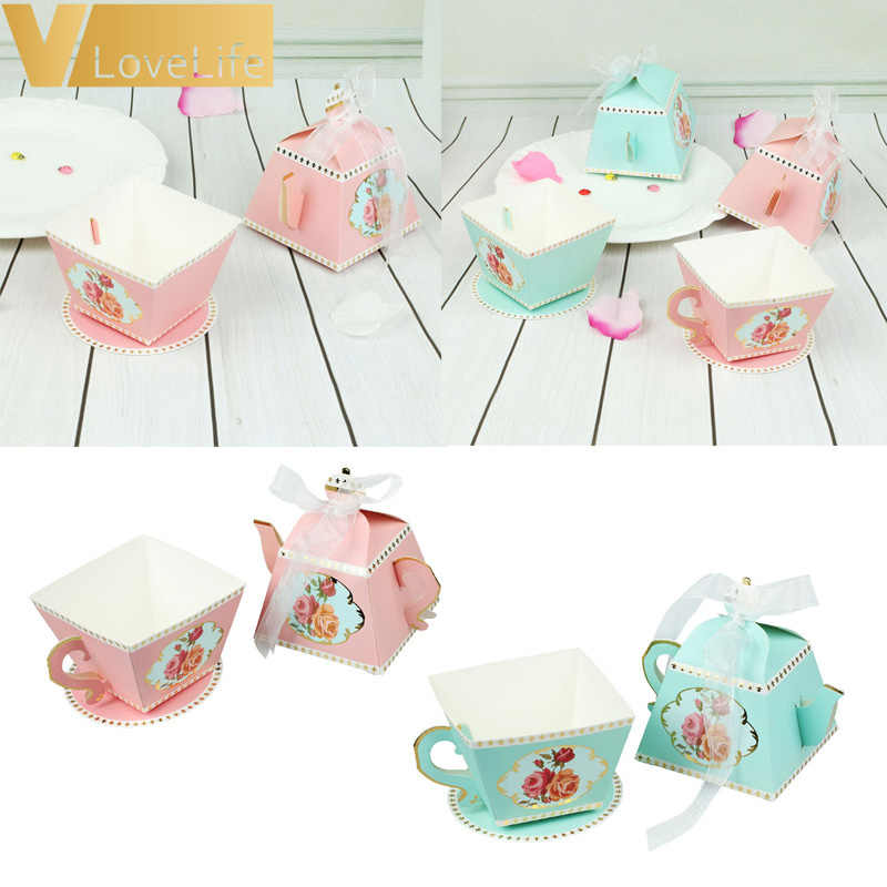 10Pcs Candy Boxes Tea Party Favors Wedding Gifts for Guests Bridal Shower Birthday Party Candy Box Favors Decoration