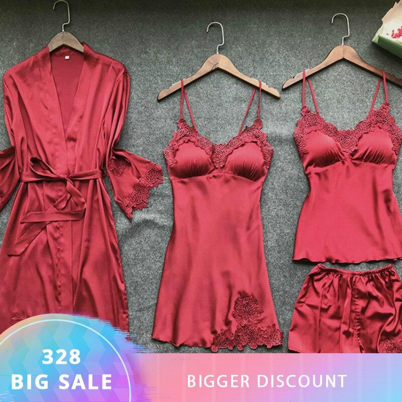 Satin Nachtwäsche Weibliche mit Brust Pads Sexy Frauen Pyjamas Spitze Slik Schlaf Lounge 4 Stück Sets Elegante Damen Innen Kleidung
