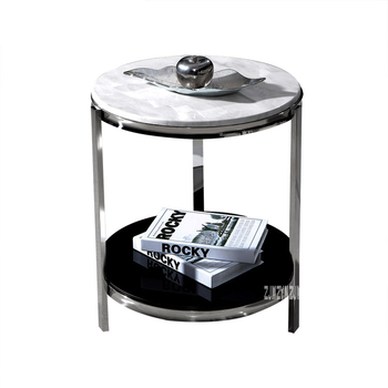 Round Corner Table | Modern Luxury Marble Top Tea Table Simple Living Room Bedroom Corner Sofa Side Small Round Coffee Table Stainless Steel Rack