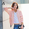 Blue Pink Bomber Jacket Women 2016 Spring Stand Collar Classic Simple Baseball Jacket Veste Femme Manche Longue Korean Cardigan