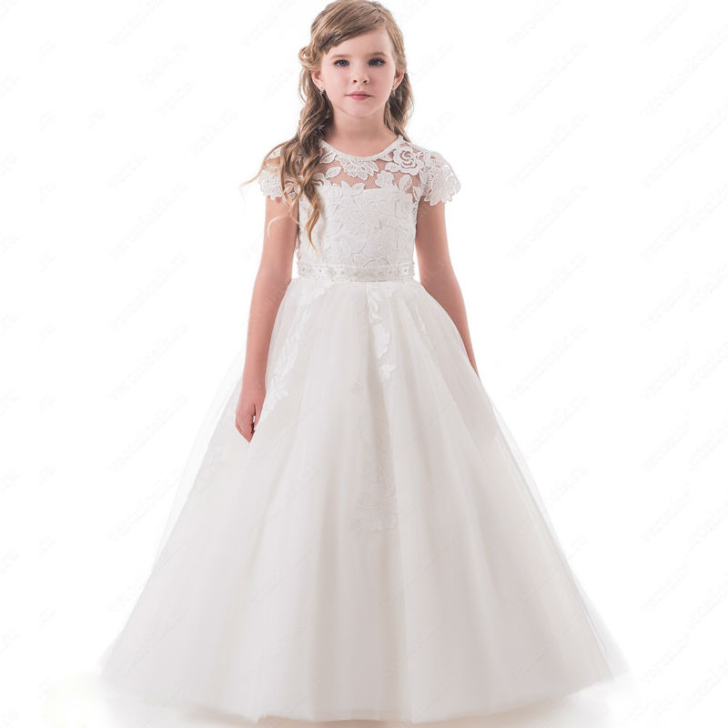 Ankle-Length Mother Daughter Dresses Appliques Lace Overlay Kids First Communion Gowns Short Sleeves Sash Girl Pageant Dress недорго, оригинальная цена