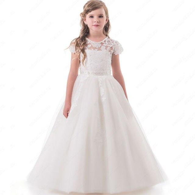 ac427392ba Kostek Matka Córka Sukienki Aplikacje Koronki Nakładki Dzieci Pierwsza Komunia  Suknie Krótkie Rękawy Sash Dziewczyny Korowód