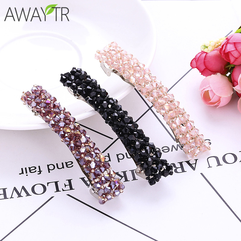 Hot Beauty Crystal Spring Hairpin Rhinestone Four Row Strip Hair Barrettes Clips Hairpins For Women Girls Headwear 1pcs