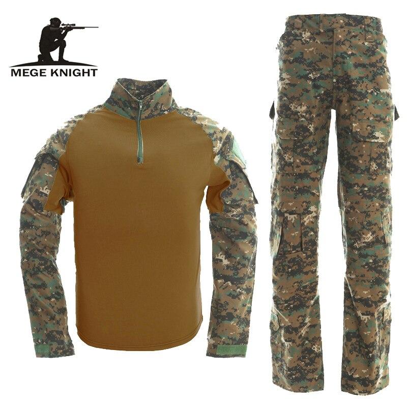Tactical Military USMC FROG II Ranger Inspire Airsoft Paintball Combat Uniform Suit Knee Elbow Pads Multicam