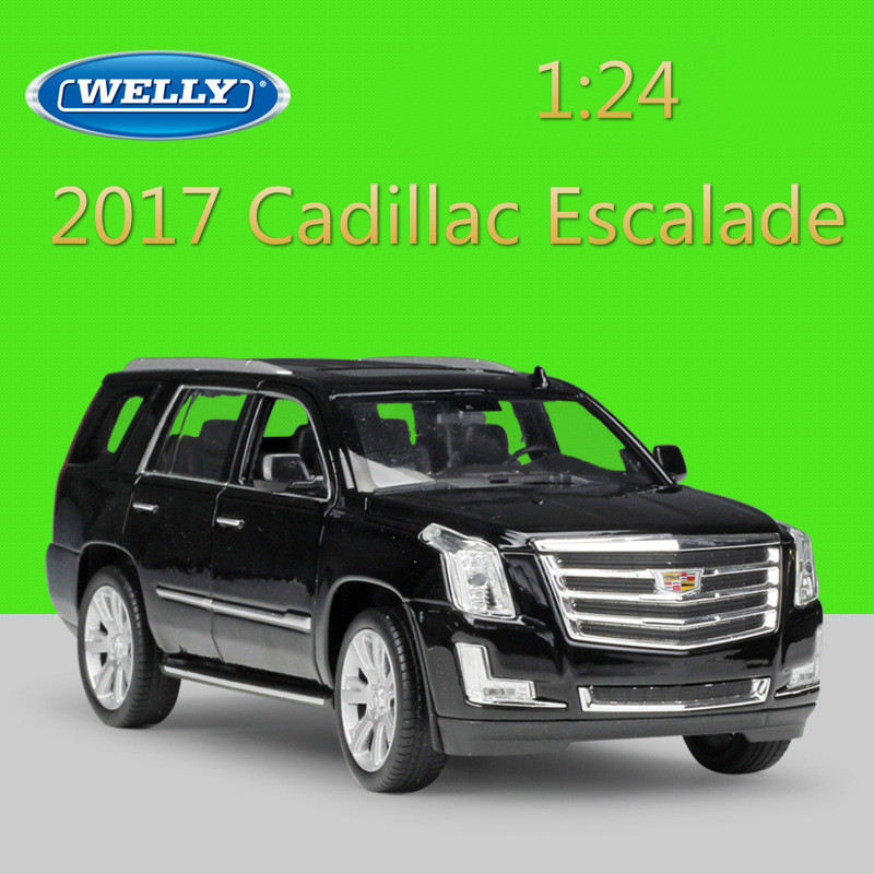WELLY 1:24 Diecast Simulator Model Car 2017 Cadillac Escalade SUV Metal Toy Cars Toys For Children Gift Collection Decoration
