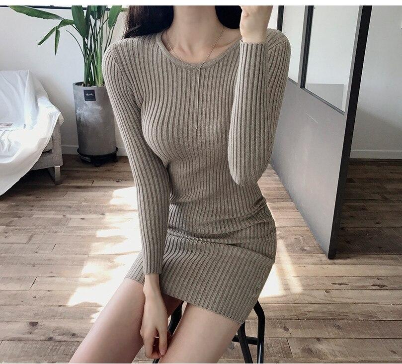 HTB1hh4YbdfvK1RjSspoq6zfNpXaN - skinny  solid Elegant Autumn Dress Girls Boho Female Vintage Dress knitting Women LongSleeve Women Dresses knitted Robe Vestido