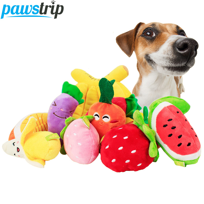 1pc Cute Fruit Design Pet Dog Toys Soft Fleece Puppy Dog Chew Squeaky Toys Petshop Dropshipping