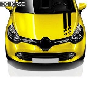 Image 3 - Racing Sport Car Hood Sticker Tronco Cofano Grafica In Vinile Della Decalcomania Per Renault Clio RS Campus Megane 2 3 Twingo Sandero accessori