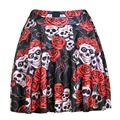 Casual summer style american apparel saia sexy 3d print retro Rose Skull black above knee mini Pleated skirts womens faldas jupe