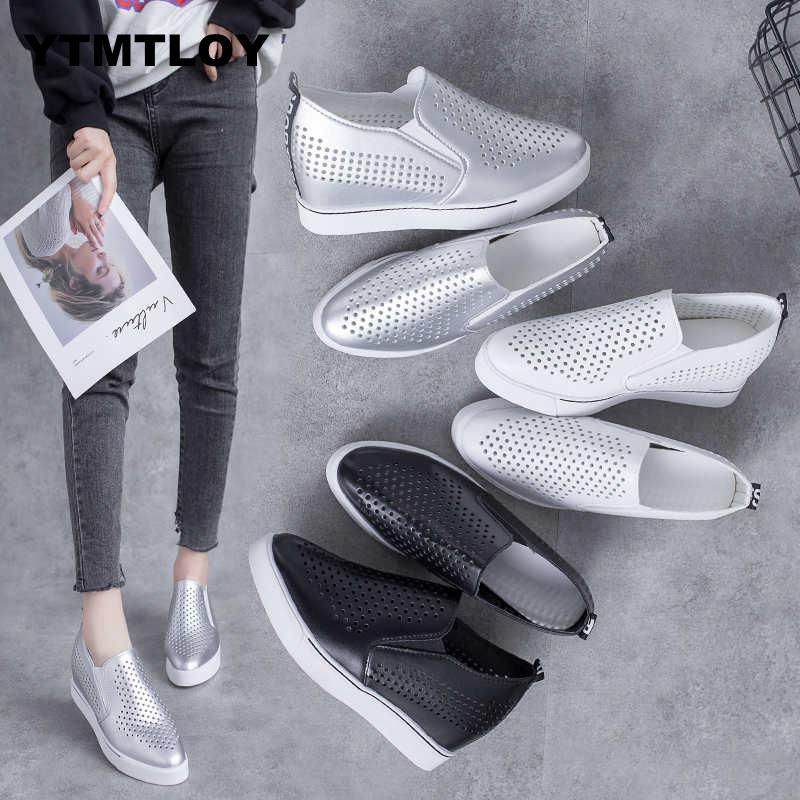 2019 Women Wedge Platform Rubber Brogue Leather Lace Up High Heel Shoes  Increasing Creepers White Sneakers  Sapato Hollow