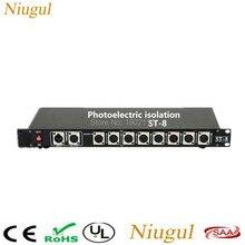 Divisor DMX de 8 canales de aislamiento fotoeléctrico, divisor de luz de escenario DMX, divisor de amplificador de señal, distribuidor DMX de 8 vías con aislamiento óptico