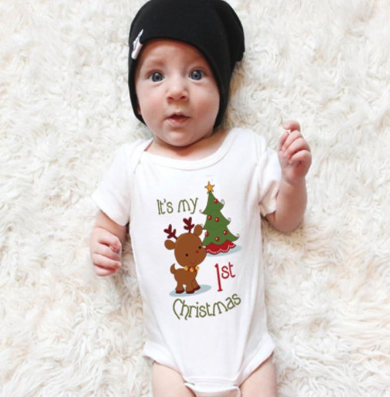 christmas baby romper newborn infant baby boys girls cartoon deer Christmas tree print long sleeves romper  baby clothing