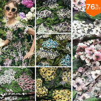 3 yard Top Luxury Fashion 3d handmade diamonds middle flower Lace french lace cord lace borders tulle fabric with 3D Flower leaf