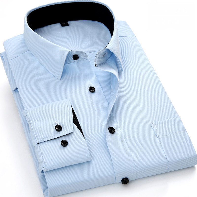 Mens Work Shirts Brand Soft Long Sleeve Square Collar Regular  Solid Plain/ Twill Men Dress Shirts White Male Tops