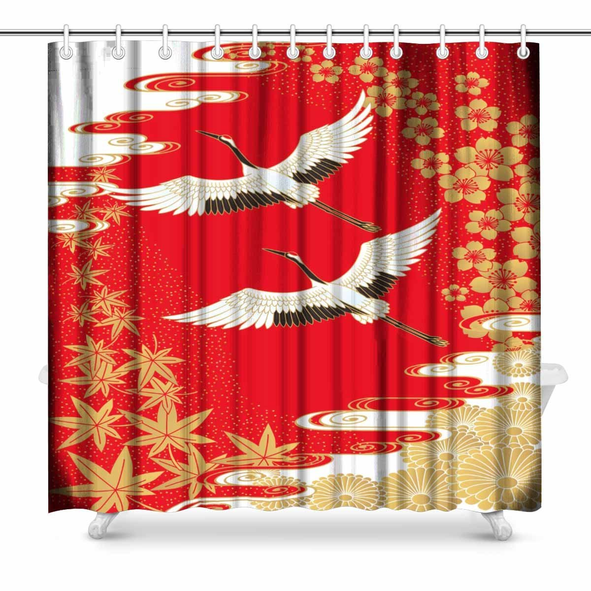 Aplysia Cranes And Cherry Maple Japanese Style Art Bathroom Decor Shower Curtain With Hooks 72 X Inches In Curtains From Home Garden On