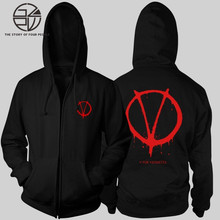 Gzpw cosplay 2018 autumn and winter V for Vendetta fashion plus velvet zipper cardigan sweater jacket men
