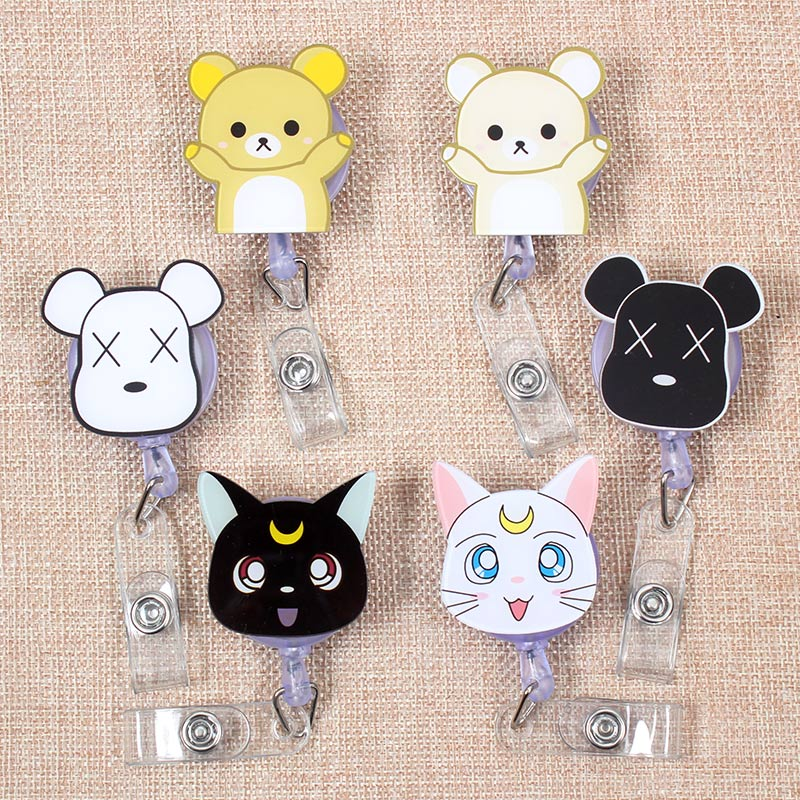 Cartoon Dogs Bear Cat Retractable Badge Holder Reel Exhibition Enfermera Students Girls Boy Name Card Hospital Office Chest Card
