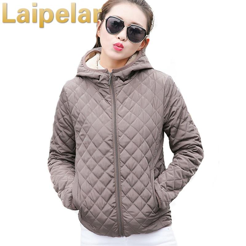 Autumn 2018 Parkas   Basic     Jackets   Female Women Winter Plus Velvet Lamb Hooded Coats Cotton Winter   Jacket   Womens Outwear coat