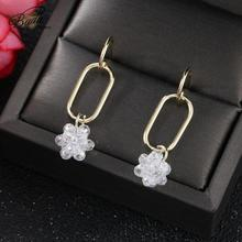 Badu New Fashion Cute Drop Earrings for Women 2019 Geometric Transparent Crystal Flowers Pendient Dangle jewelry Gift