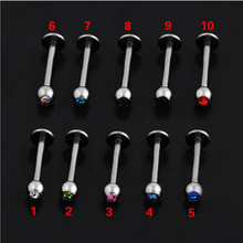 Doublehee Personal Labret Lip Plugs Single 3mm Ball With Colors Crystal 316 L Titanium Good Quality Body Piercing Jewelry