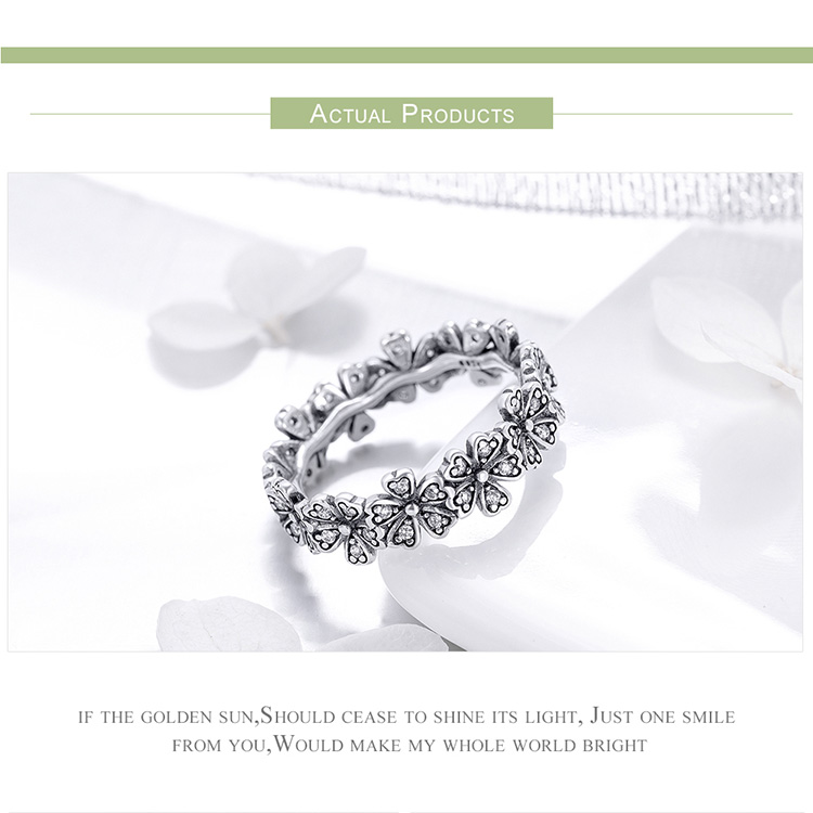 HTB1hh62JbuWBuNjSszgq6z8jVXat BAMOER Trendy New 100% 925 Sterling Silver Stackable Daisy Flower Finger Rings for Women Sterling Silver Wedding Jewelry SCR397