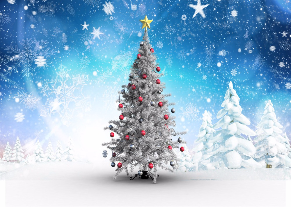 Kate Digital Printing Christmas Photography Backdrops Snowflake Blue Sky Christmas Tree Photo Studio Background