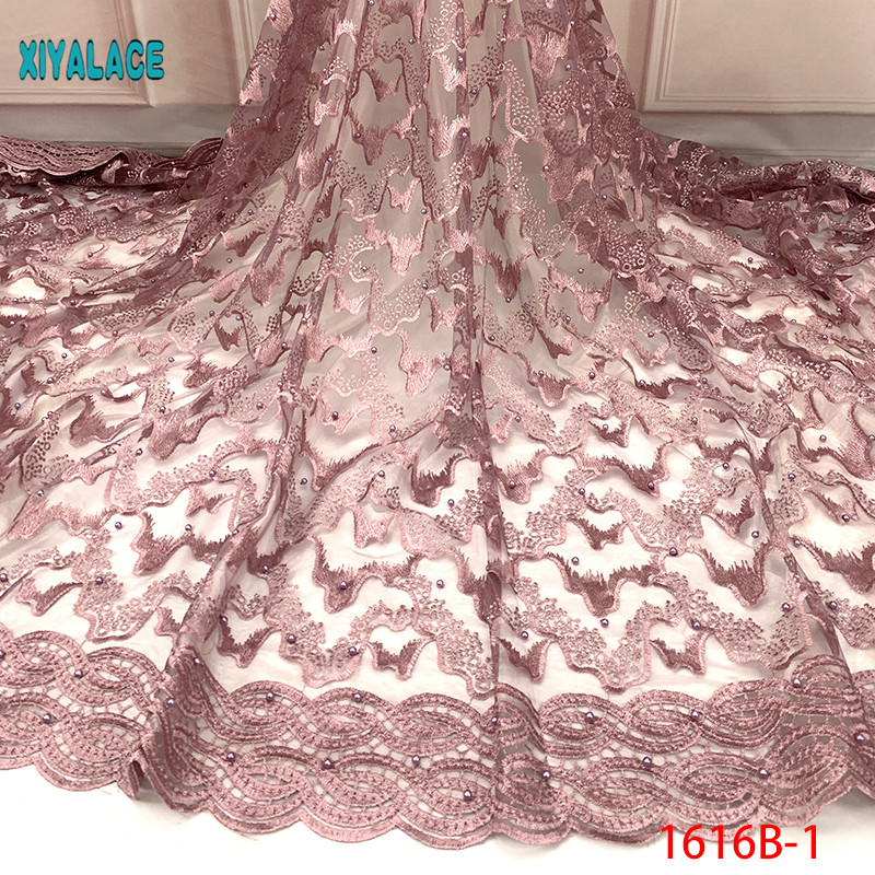 2019 Latest French Laces Fabrics High Quality Tulle African Laces Fabric For Wedding Nigerian Tulle Lace Material YA1616B-1