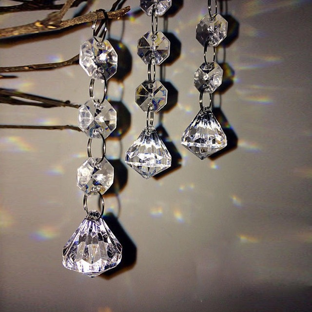 10 Pcs Christmas Acrylic Crystal Diamond Beads String Drops Pendant Garland Chandelier Hanging Wedding Party Decoration