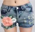 Горячая Короткие Штаны Из Бисера Цветок Джинсы Плюс Размер Шорты Ripped Шорты Летом Стиль Бурлящие Штаны