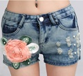 Hot Short Pants Beaded Flower Jeans Plus Size Shorts Ripped Shorts Summer Style Hotpants