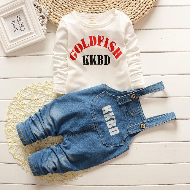 Moda denim vestido de verão conjunto de roupas meninas primavera Conjuntos de Roupas de Bebê roupa dos miúdos Meninos crianças brancas vestido Crianças soprts siut