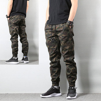 2019 High Street Fashion Mens Jeans Army Jogger Pants Camouflage Military Elastic Waist Drawstring Zipper Ankle Banded Jeans Men