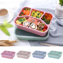 Portable 4 Grids Bento Box Kids Student School Picnic Food Container Leak-Proof Wheat Straw Lunch Box Eco-Friendly Natural(China)