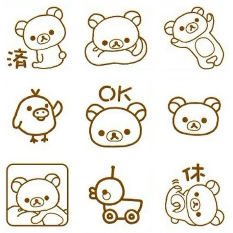 9 Pcs/set Kawaii Easy Bear Rilakkuma Stamp Diy Self Inking Photosensitive Seal Without Handle Funny Planner Scrapbooking Stamps Office & School Supplies