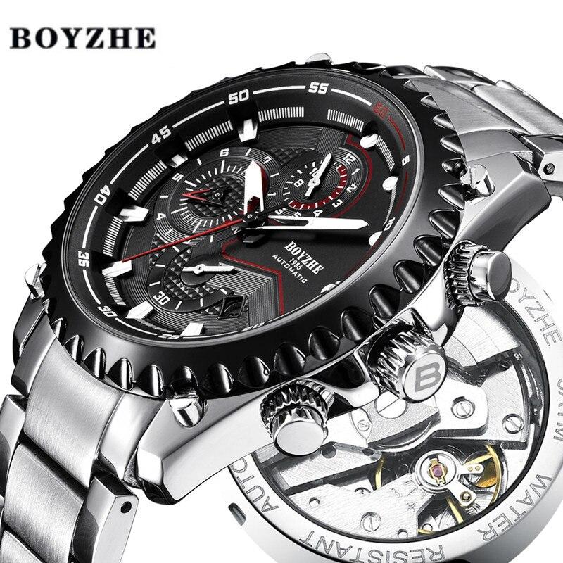 BOYZHE 2018 nouveaux hommes automatique montre mécanique étanche Sport marque de luxe montre hommes en acier inoxydable montres Relogio Masculino