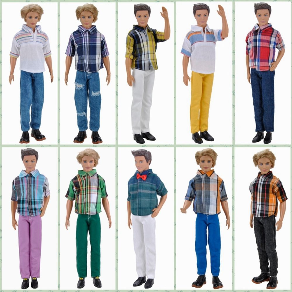 E-TING Doll Clothes Casual Wear Plaid Short Sleeves Shirt Pants Trousers Outfits Set For Barbie Ken Doll Accessories Toys Gifts hazy beauty handsome new perfect policeman set suits clothes trousers for barbie 1 6 boyfriend ken doll bbi00921
