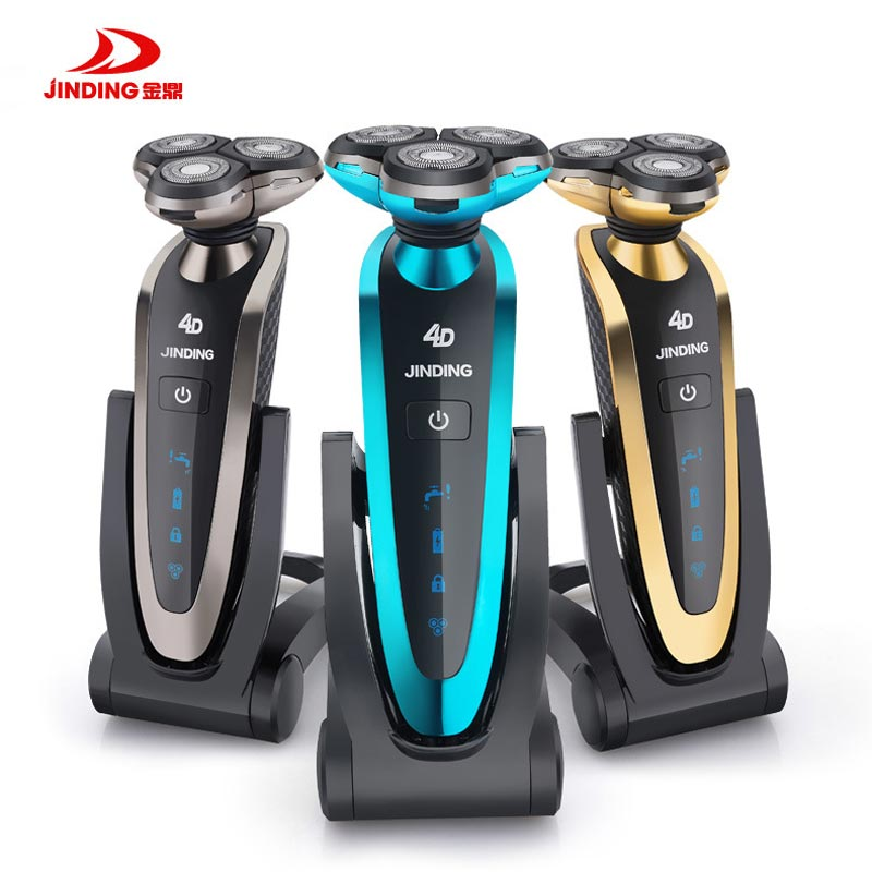 JINDING Rechargeable Electric Shaver Triple Blade Shaver Wireless Use Waterproof 3D Shaving Machine Beard Electric Razor for Men jinding gold plated electric shaver gold rechargeable shaver 3d float triple blade electric head trimmer waterproof men shaver