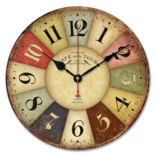 Top Grand 2016 Antique Style Wall Clock Coated Paper Vintage Pattern 3D Wall Clock Watch Home Decoration For Gift 30cm Width