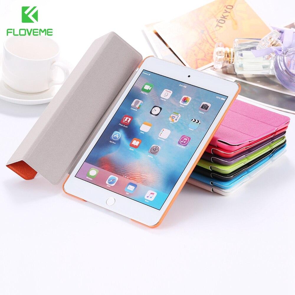 FLOVEME Triple Folder Flip Cover for apple iPad mini4 Case Super Thin Full Protective Stents mini 4 Funda Stand Shell Coque