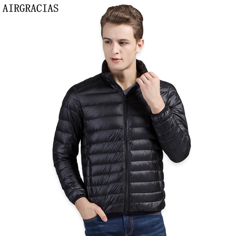 AIRGRACIAS Men   Down     Coat   Lightweight 95% White Duck   Down   Jacket Winter Thicken Warm Jacket Mens   Down   Parka Brand Clothing S-4XL