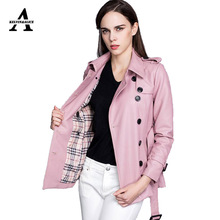 Long Leather Jacket New 2016 Autumn Winter Double Breasted Plaid Lining With Belt Midi Leather Motorcycle Biker Jackets JS8699
