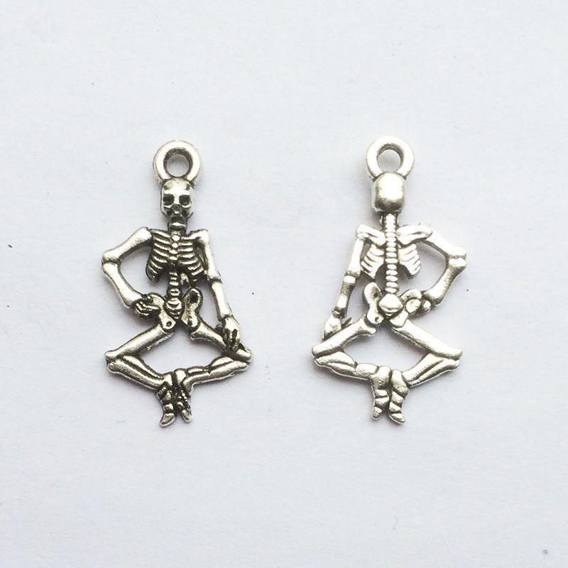 20pcs Human skeleton Tibetan Silver Bead charms Pendants 25x14mm