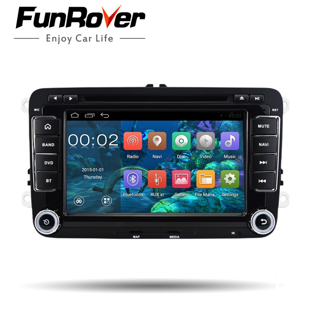 Funrover Quad Core Android 8.0 dvd de voiture lecteur gps 2 Din 7 pouce Pour Volkswagen VW Skoda POLO PASSAT CC TIGUAN B6 golf 5 Fabia Cam