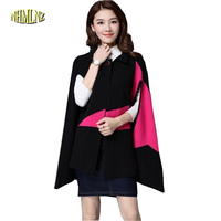 2016 Autumn Winter New Fashion Cloak Sweater Coat Women Korean Loose Large Size Shawl Medium Long