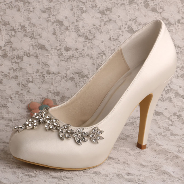Wedopus Mw565 Closed Toe Bling High Heels Cream Wedding Shoes For Women