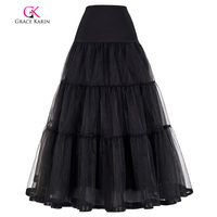 Grace Karin White Black Petticoat For Wedding Dresses Ball Gown 2 Layers Voile Ruffles Underskirt Crinoline