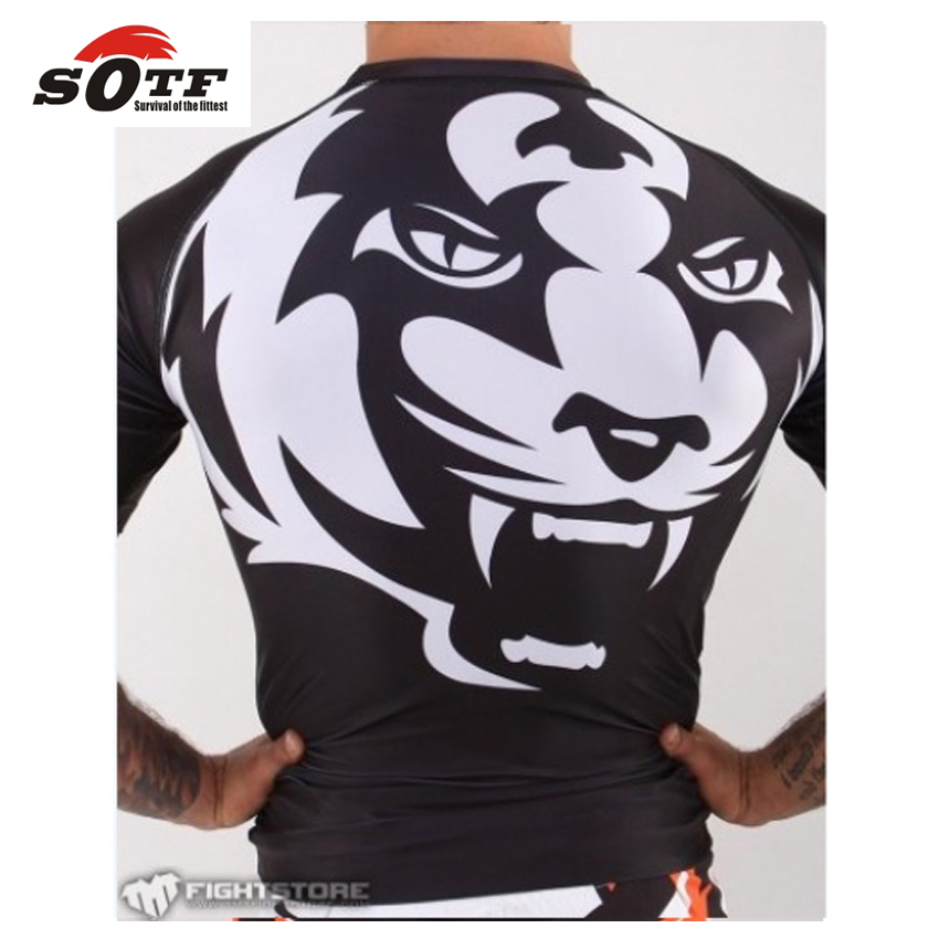 SOTF 2015 New Title Tiger Muay Thai MMA Wearing Tight Fitting Short-sleeved Suit Sweatshirt Shuzhan Tai Boxing Boxing