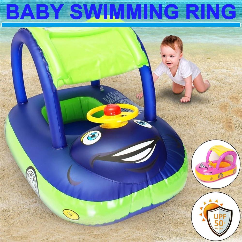Baby Kids Summer Float Seat Boat Sun Shade Tube Ring Car Swimming Pool For 6-36 Months Baby Load-bearing Water Sport Fun Toys