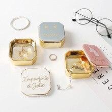 Ceramic Mini Storage Box Jewelry INS Scandinavia Square Portable Container Ring Necklace Organizer Decor